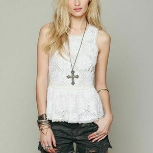 Free People FP New Romantics Beaded White Top S